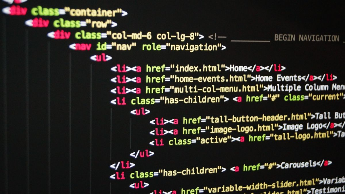 Lines of HTML code with a HTML tags